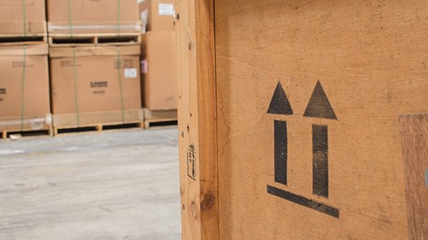 Cardboard boxes on palettes