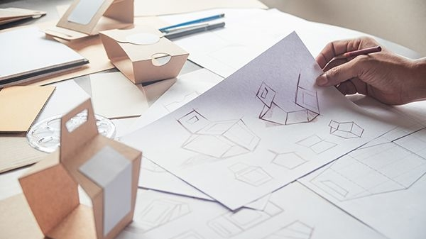 Packaging design sketch and prototype