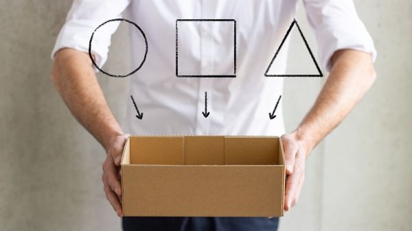 Man presents empty box in which you can place different products